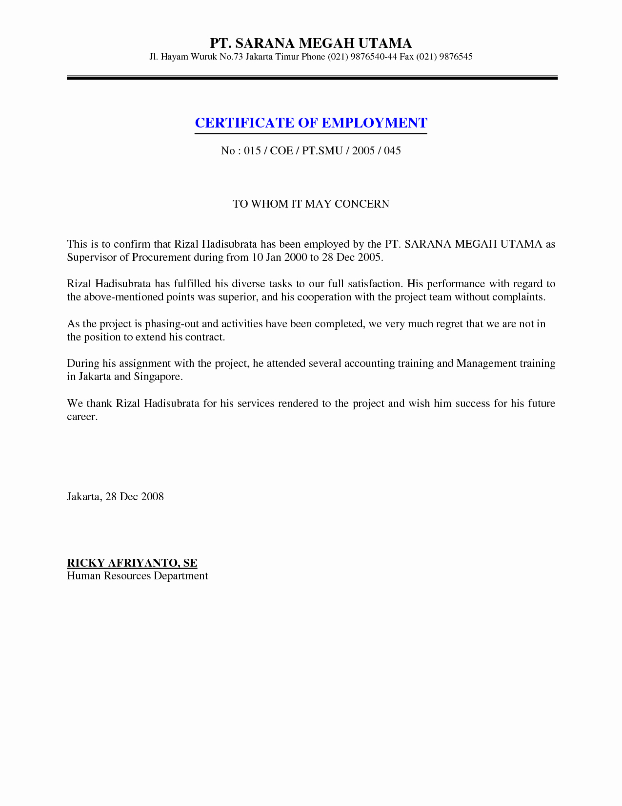 Certificate Of Employment Template Best Of 9 Best Of Certificate format for Job Employment