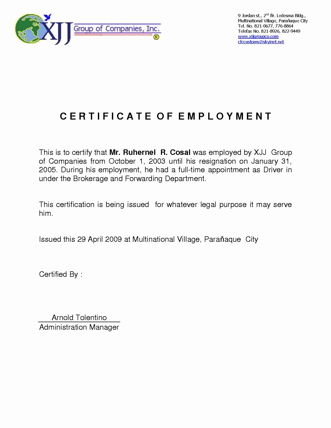 Certificate Of Employment Template Elegant 9 Best Of Certificate Employment Template
