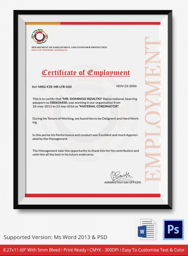 Certificate Of Employment Template Elegant Employment Certificate 36 Free Word Pdf Documents