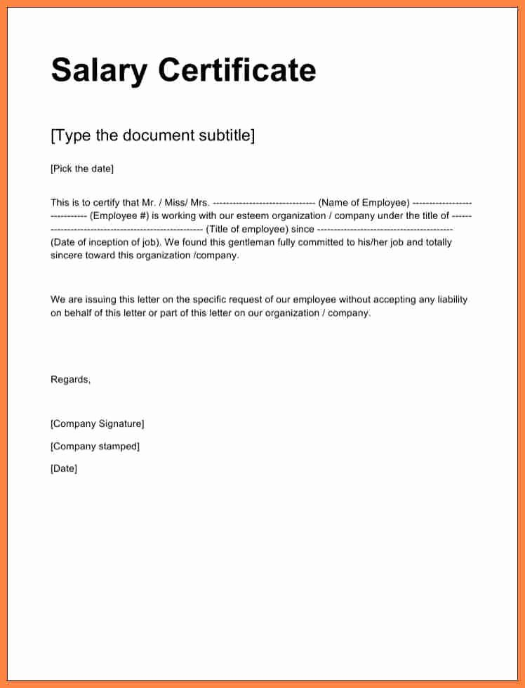 Certificate Of Employment Template Fresh Certificate Employment Sample with Salary