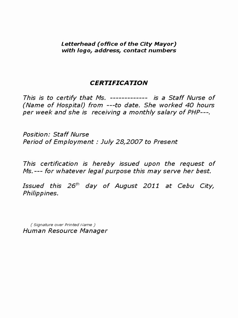 Certificate Of Employment Template Fresh Sample Certificate Of Employment