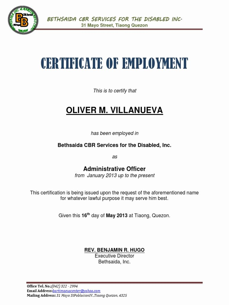 Certificate Of Employment Template Inspirational Certificate Employment Sample Docx for Certificate