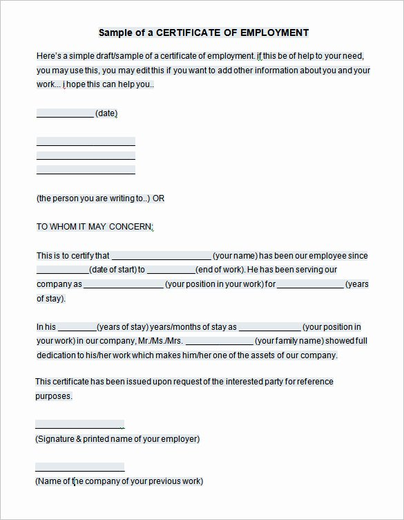 Certificate Of Employment Template Luxury 40 Employment Certificates Pdf Doc
