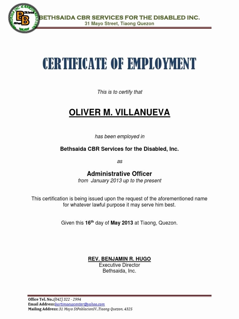 Certificate Of Employment Template Luxury Certificate Of Employment Samplecx