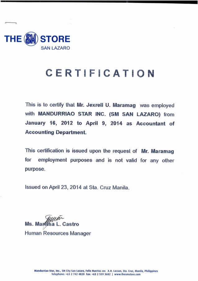 Certificate Of Employment Template New Certificate Of Employment Msi Sm Dep Store