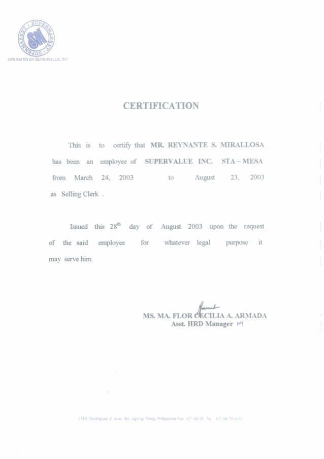Certificate Of Employment Template New Certificate Of Employment [sm Selling Clerk]