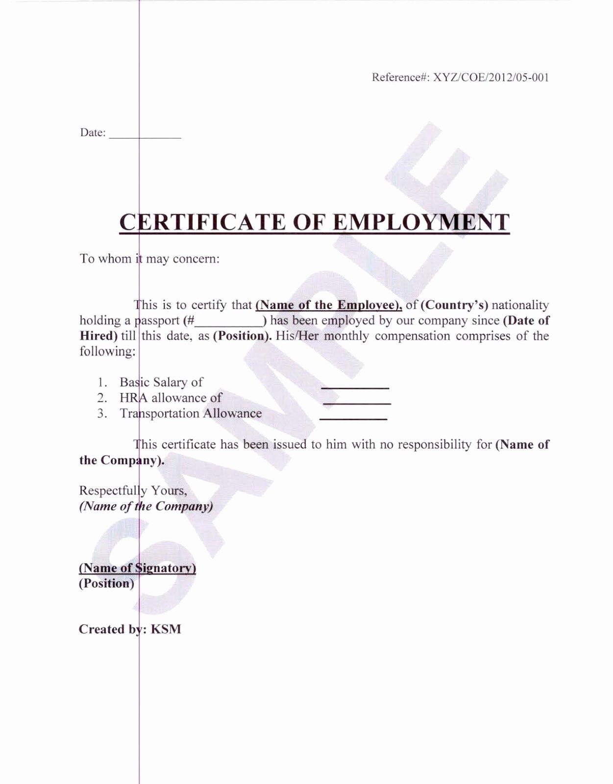 Certificate Of Employment Template Unique Employee Certificate Sample Certificate Employment