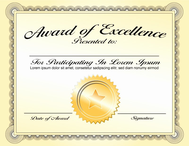 Certificate Of Excellence Template Beautiful Best Classy Award Of Excellence Certificate Template with