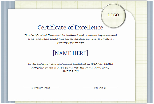 Certificate Of Excellence Template Beautiful Certificate Of Excellence Template for Word