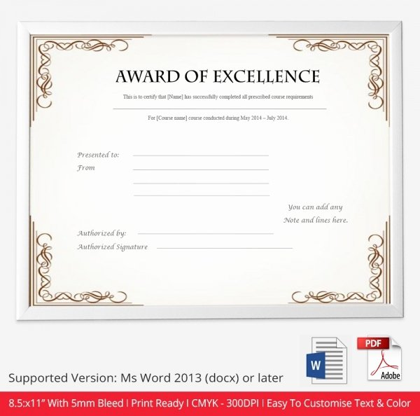 Certificate Of Excellence Template Beautiful Certificate Template 50 Free Printable Word Excel Pdf