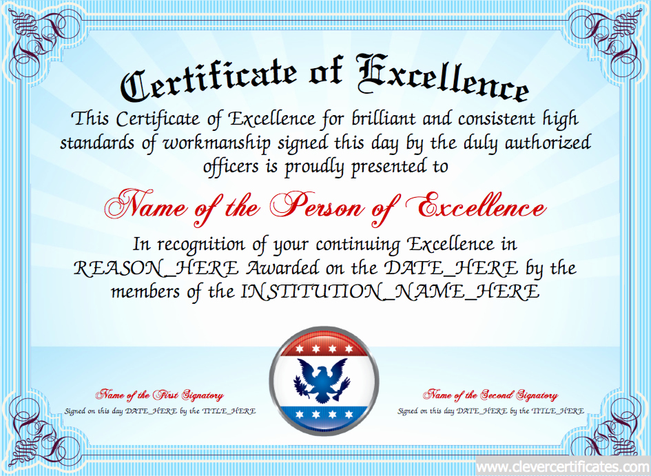 Certificate Of Excellence Template Best Of Certificate Of Excellence Free Certificate Templates for