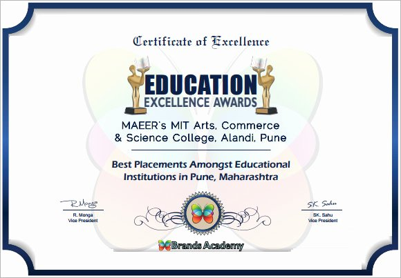 Certificate Of Excellence Template Fresh Certificate Of Excellence 7 Premium and Free Pdf Download