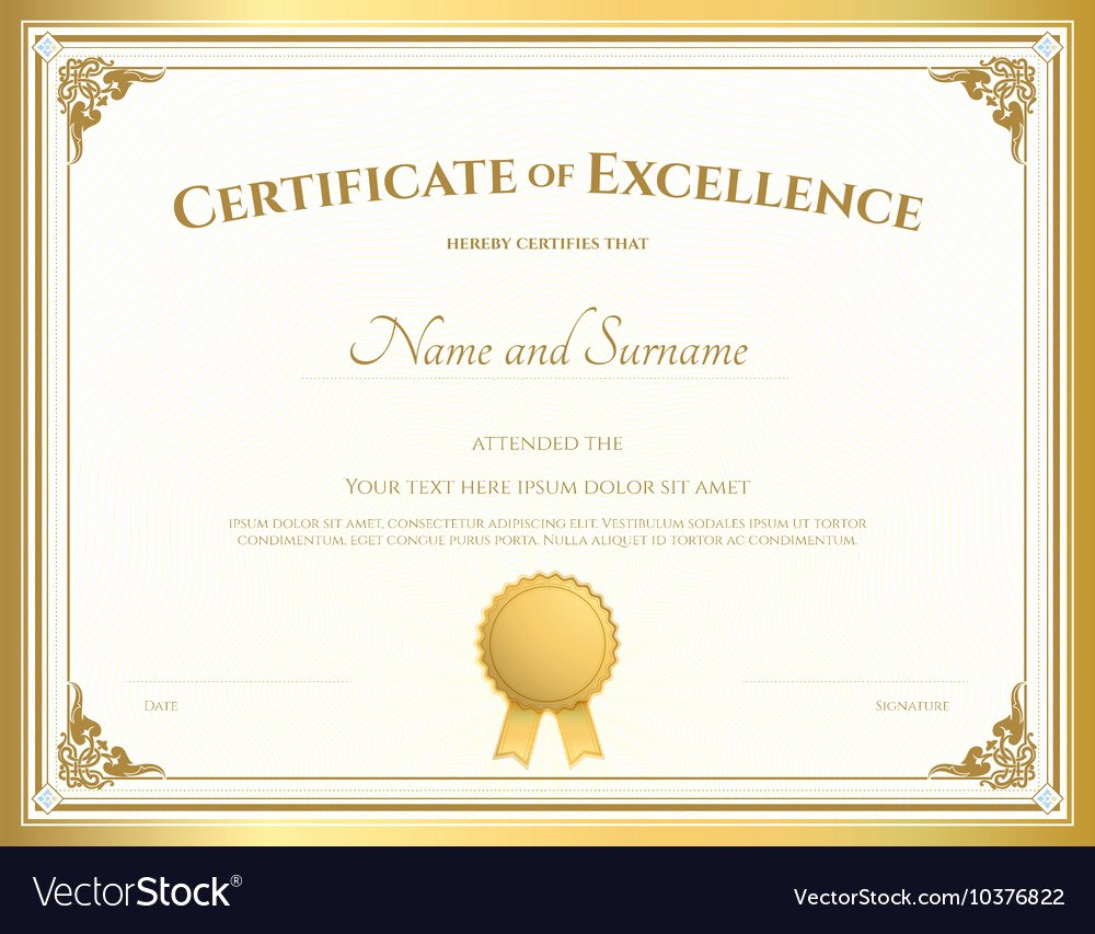 Certificate Of Excellence Template Luxury Certificate Of Excellence Template Gold theme Vector Image