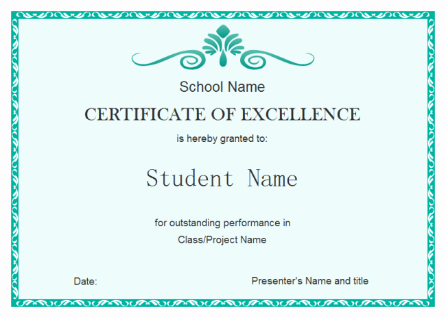 Certificate Of Excellence Template Luxury Student Excellence Certificate