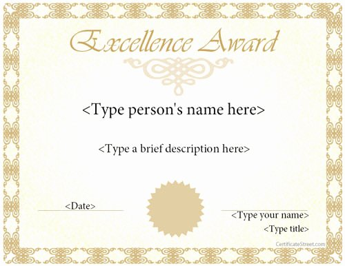 Certificate Of Excellence Template Unique 37 Best Award Certificate Templates Word Psd Ai Eps