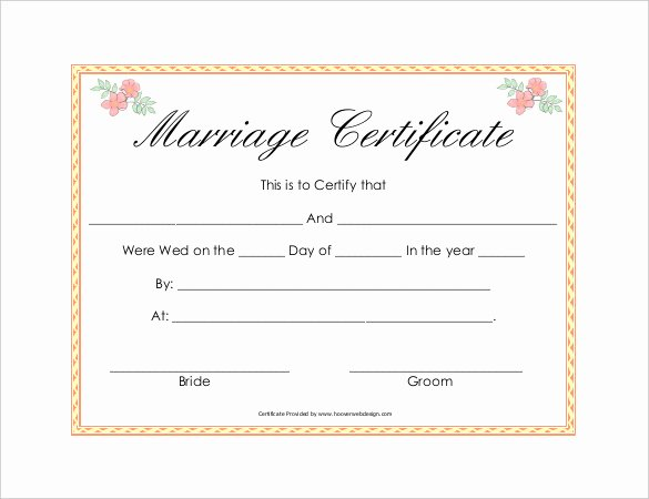 Certificate Of Marriage Template Awesome 30 Wedding Certificate Templates – Free Sample Example