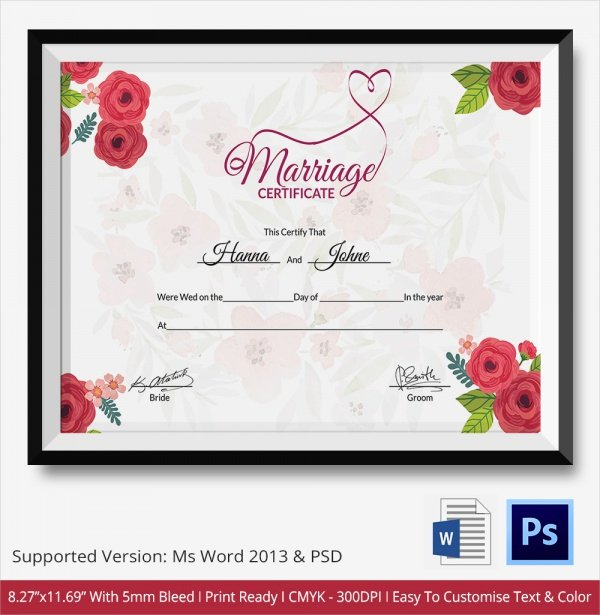 Certificate Of Marriage Template Beautiful 19 Marriage Certificate Templates
