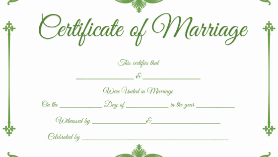Certificate Of Marriage Template Beautiful Traditional Corner Marriage Certificate Template Dotxes