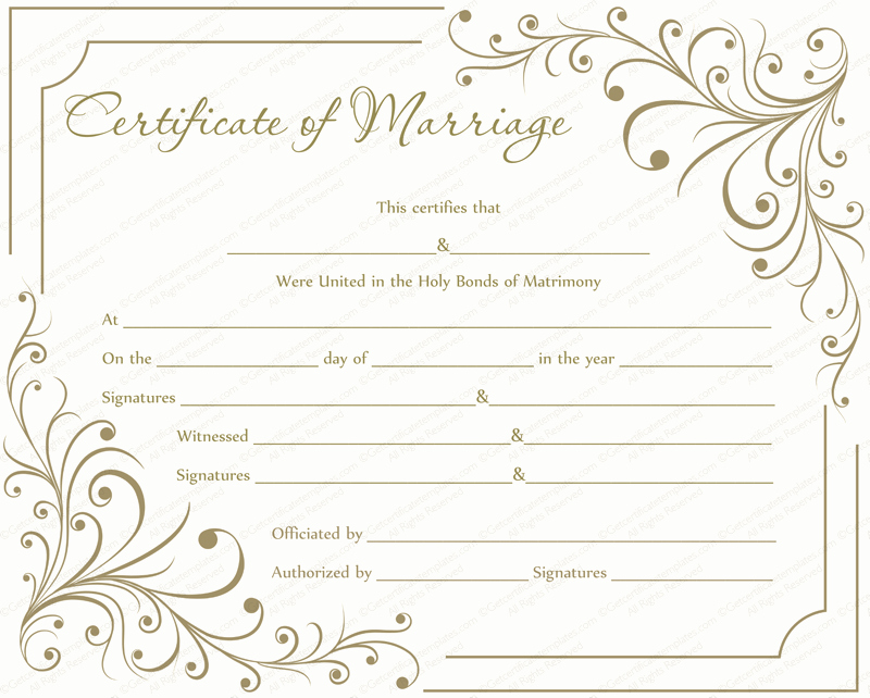 Certificate Of Marriage Template Best Of Marriage Certificate Template Write Your Own Certificate