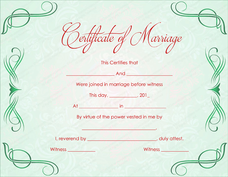 Certificate Of Marriage Template Elegant Green Grills Marriage Certificate Template