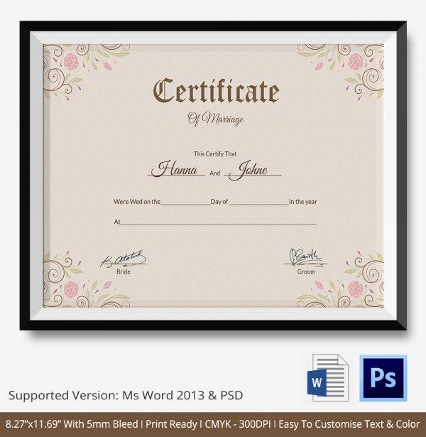Certificate Of Marriage Template Elegant Marriage Certificate Template 12 Free Word Pdf Psd