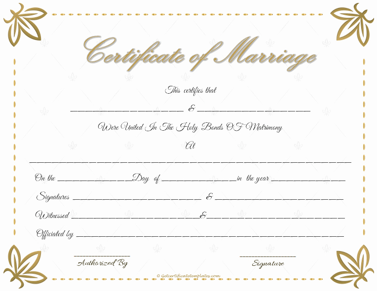 Certificate Of Marriage Template Elegant Marriage Certificate Template Write Your Own Certificate