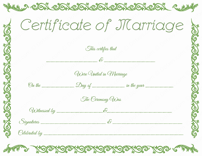 Certificate Of Marriage Template Elegant Printable Marriage Certificate Template Dotxes