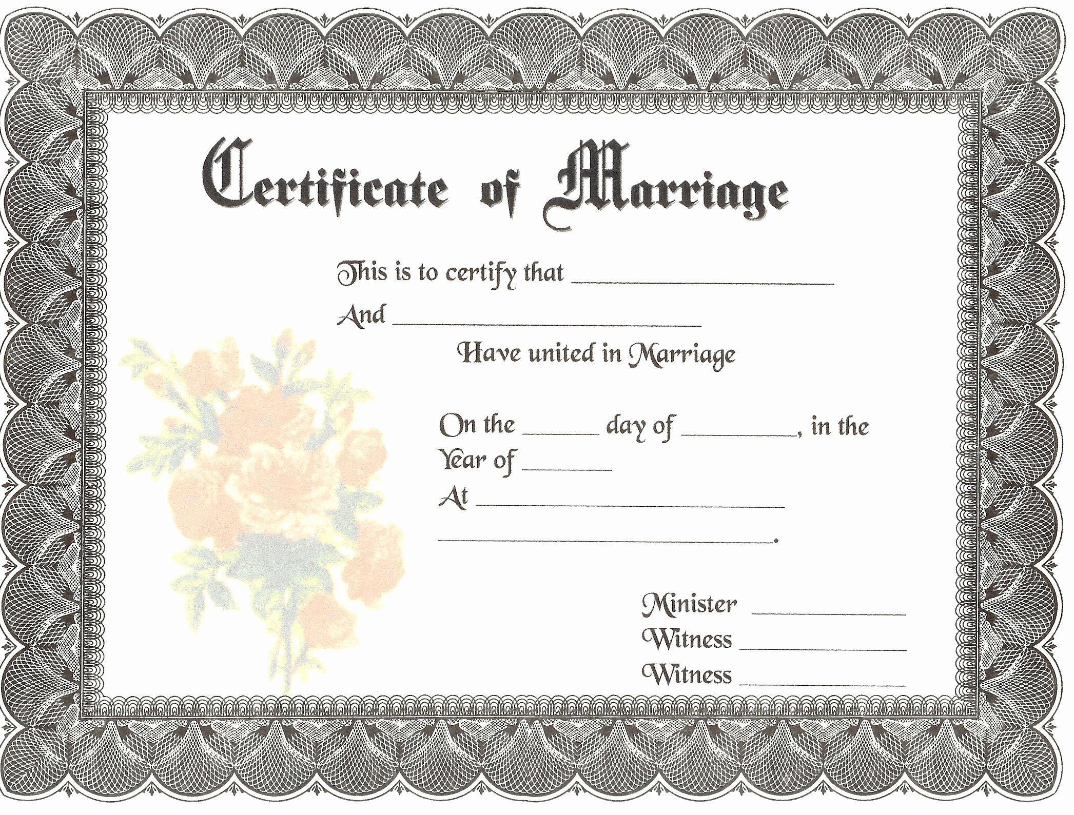 Certificate Of Marriage Template Fresh Blank Marriage Certificates