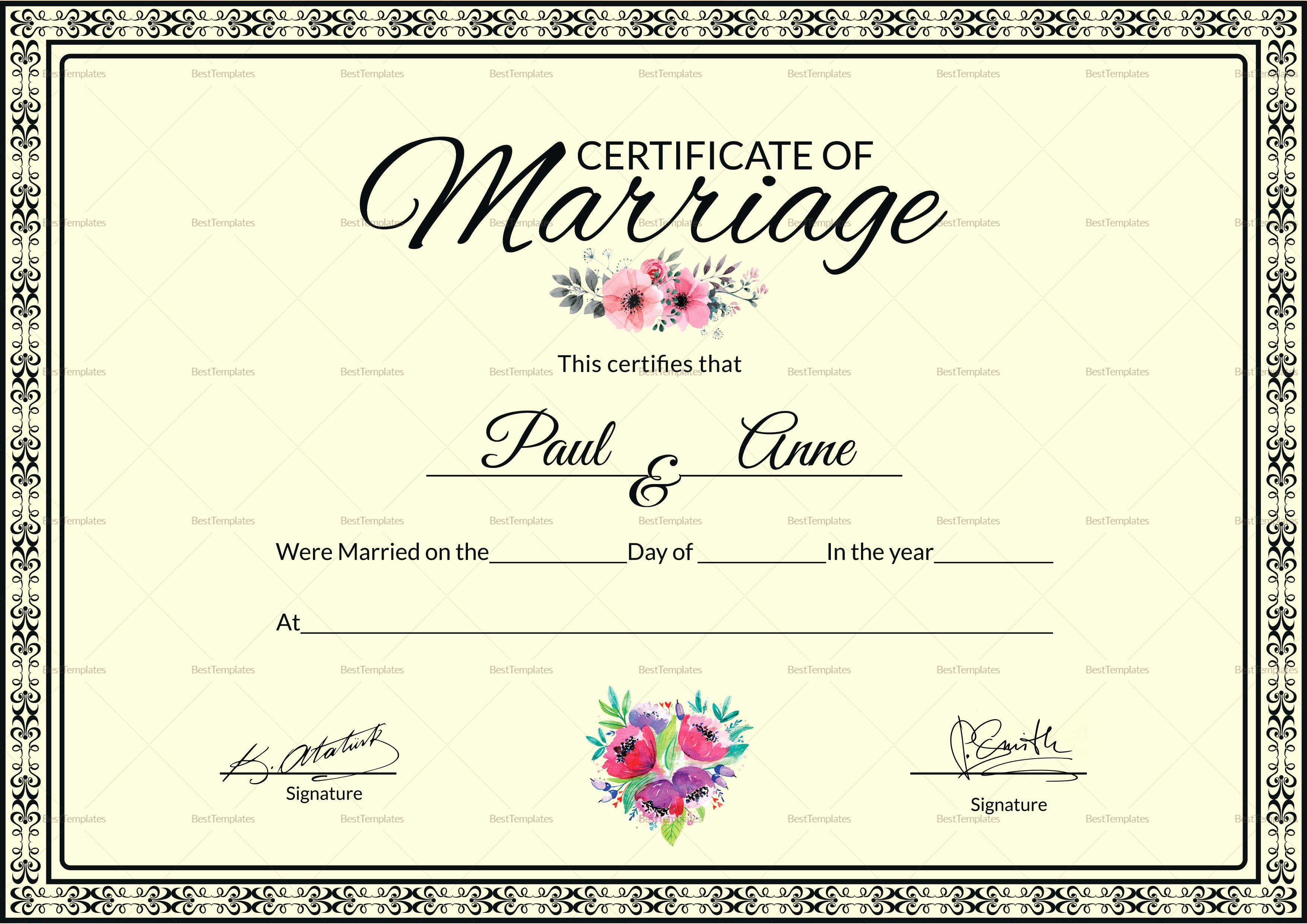 Certificate Of Marriage Template Fresh Marriage Certificate Design Template In Psd Word