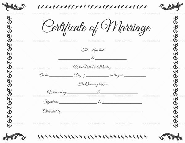 Certificate Of Marriage Template Inspirational Marriage Certificate Template 22 Editable for Word