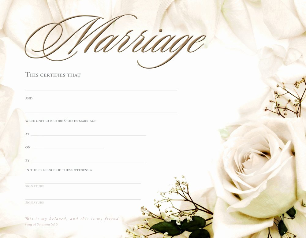 Certificate Of Marriage Template Lovely Christian Marriage Certificate Template Templates