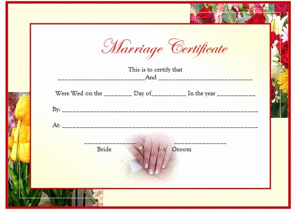 Certificate Of Marriage Template Lovely Marriage Certificate Template Updated Microsoft Word