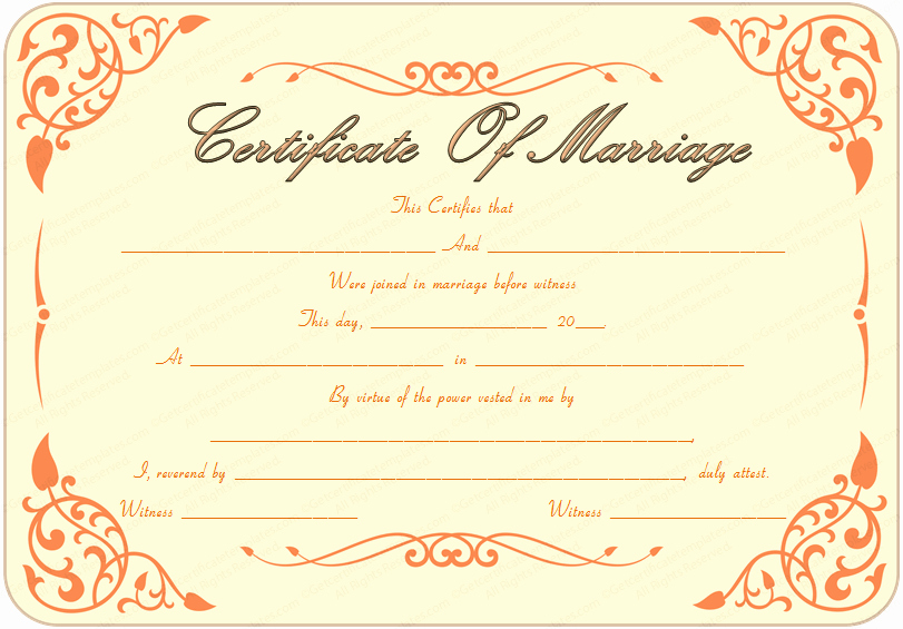 Certificate Of Marriage Template Lovely Printable Marriage Certificate Template