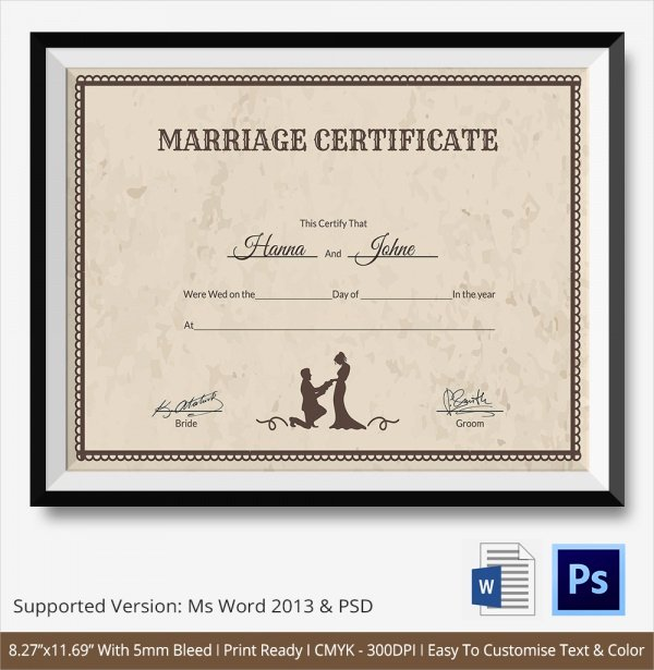 Certificate Of Marriage Template Luxury 19 Marriage Certificate Templates