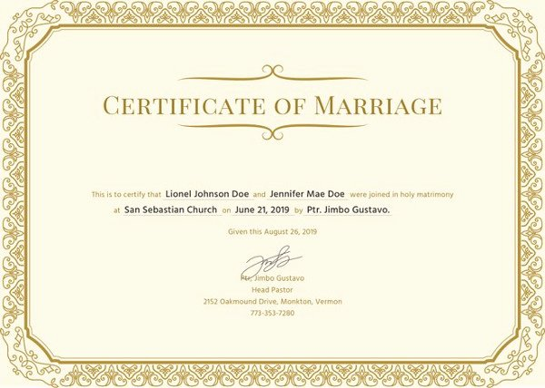 Certificate Of Marriage Template Luxury Marriage Certificate Template 12 Word Pdf Psd format