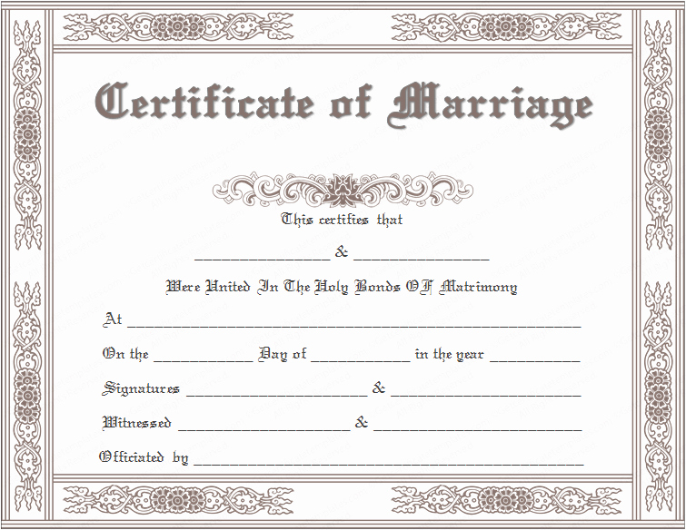 Certificate Of Marriage Template New Classic Marriage Certificate Template