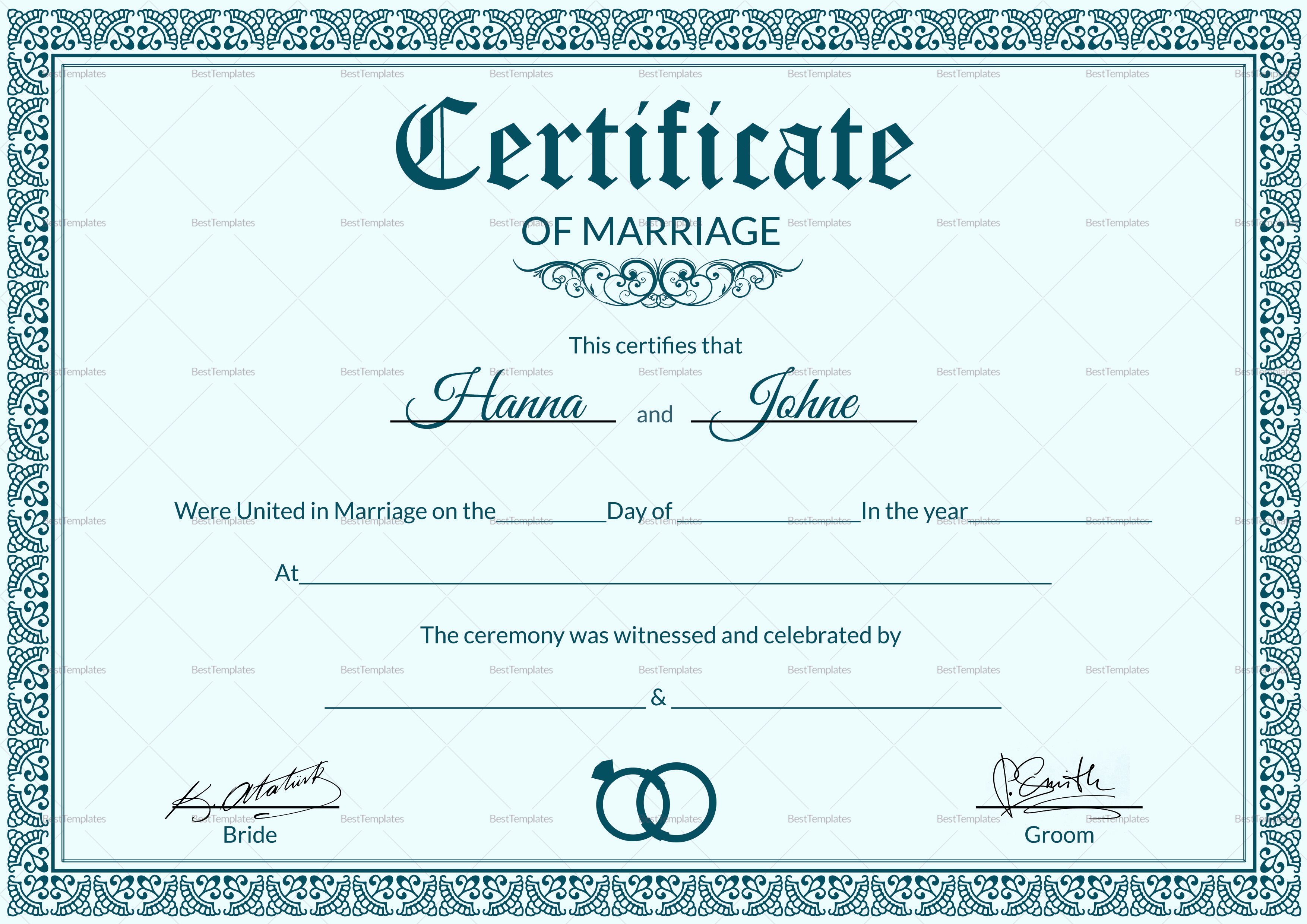 Certificate Of Marriage Template New formal Marriage Certificate Design Template In Psd Word