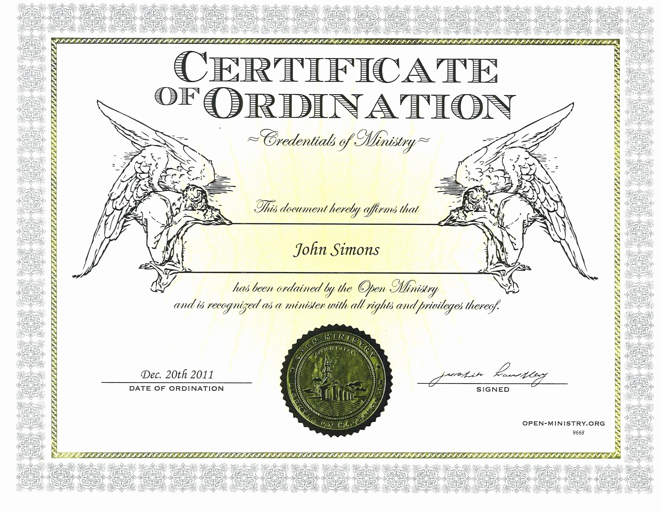 Certificate Of ordination Template Beautiful Bishop ordination Certificate Template Deacon ordination