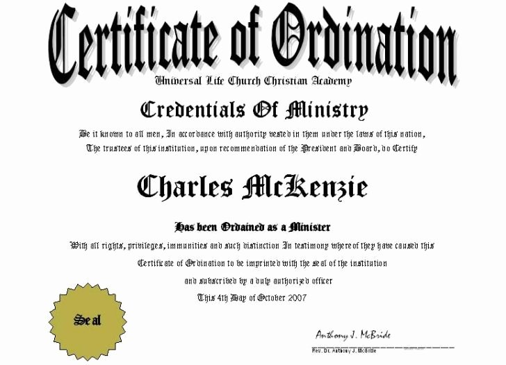 Certificate Of ordination Template Beautiful Minister License Certificate Template Reeviewer