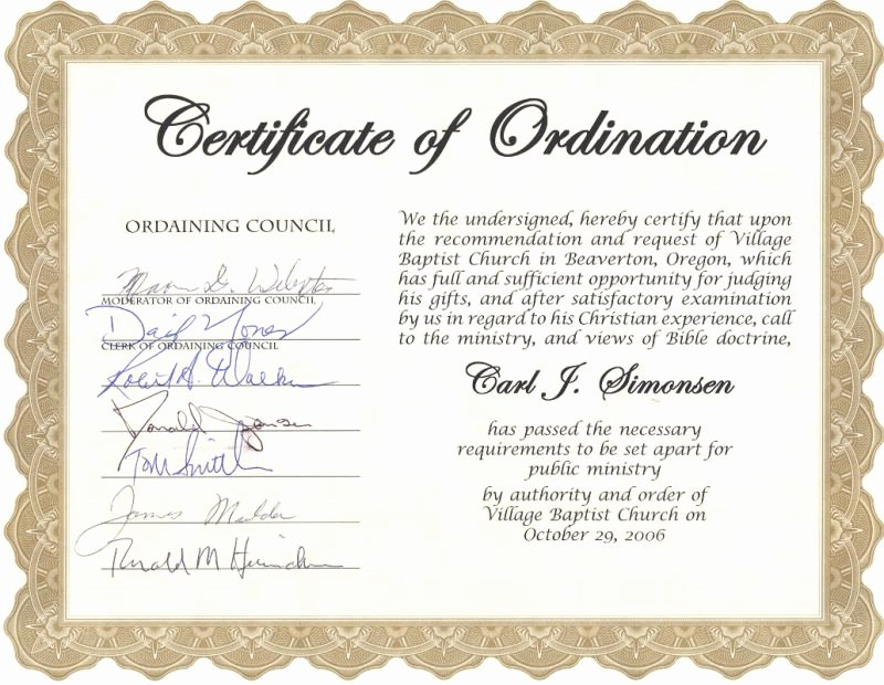 Certificate Of ordination Template Fresh Carl Simonsen S Pastoral Support Ministry