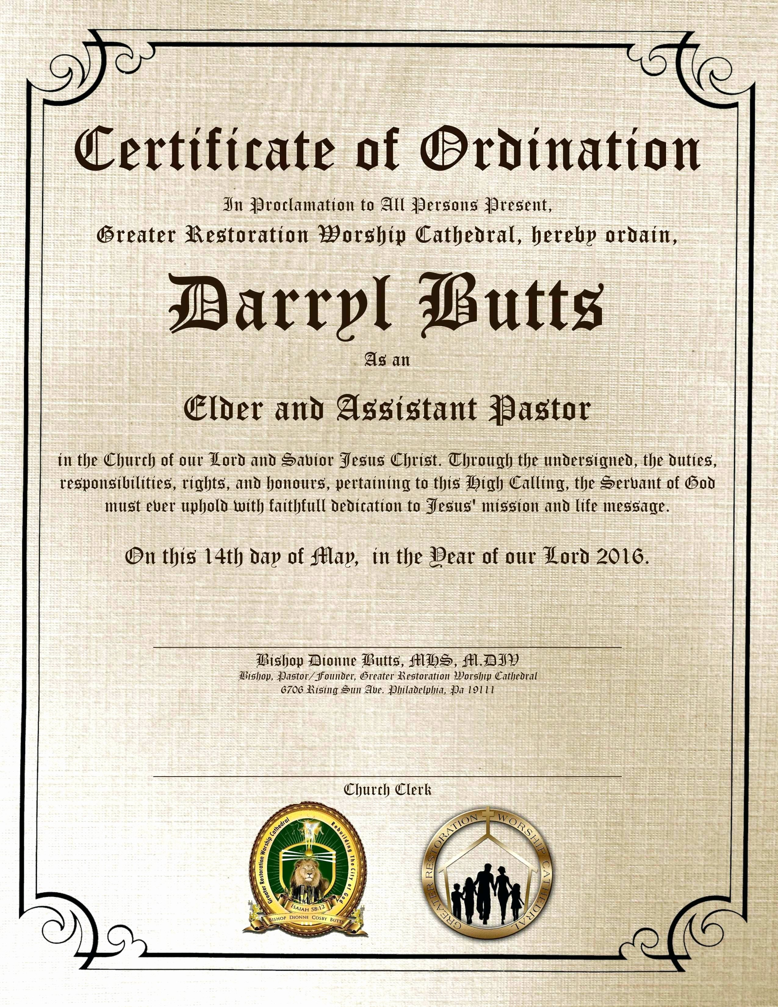 Certificate Of ordination Template Fresh Certificate ordination Pastor Template ordination