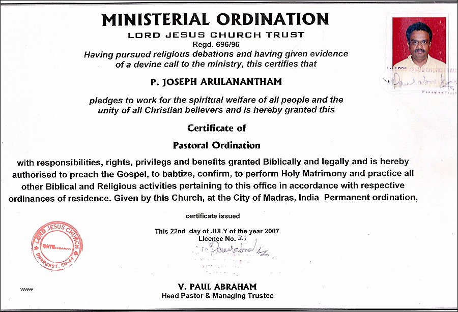 Certificate Of ordination Template Fresh ordination Certificate for Pastor Holy Ghost Power
