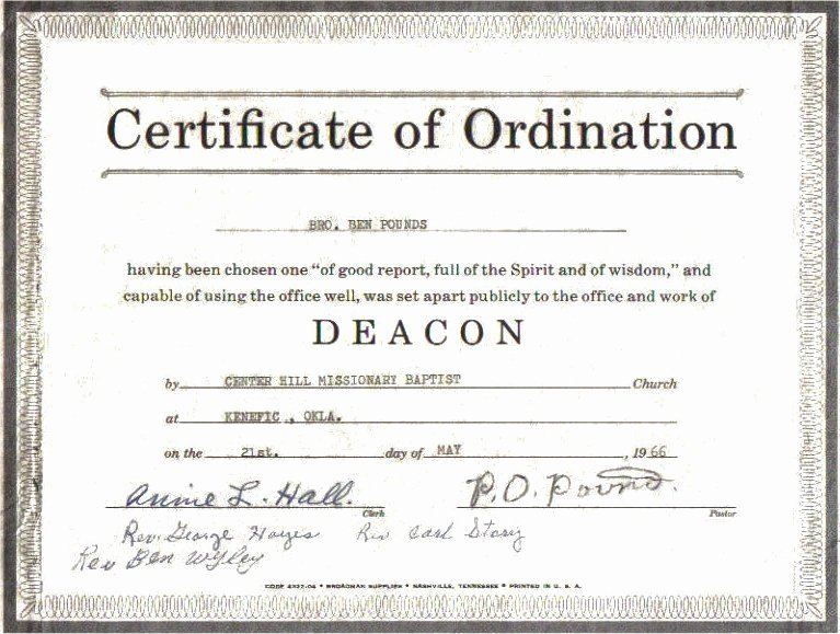 Certificate Of ordination Template Lovely atoka Co Ok the Pound Family