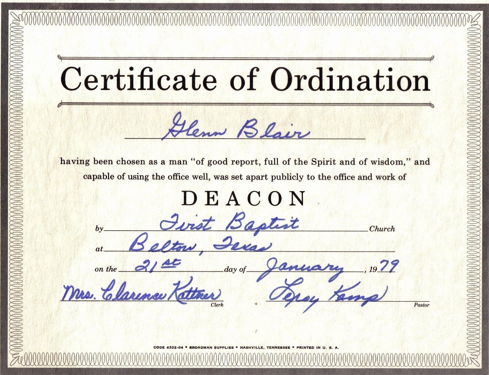 Certificate Of ordination Template Lovely the Family History Of Billy Blair Robert Glenn & Wanda