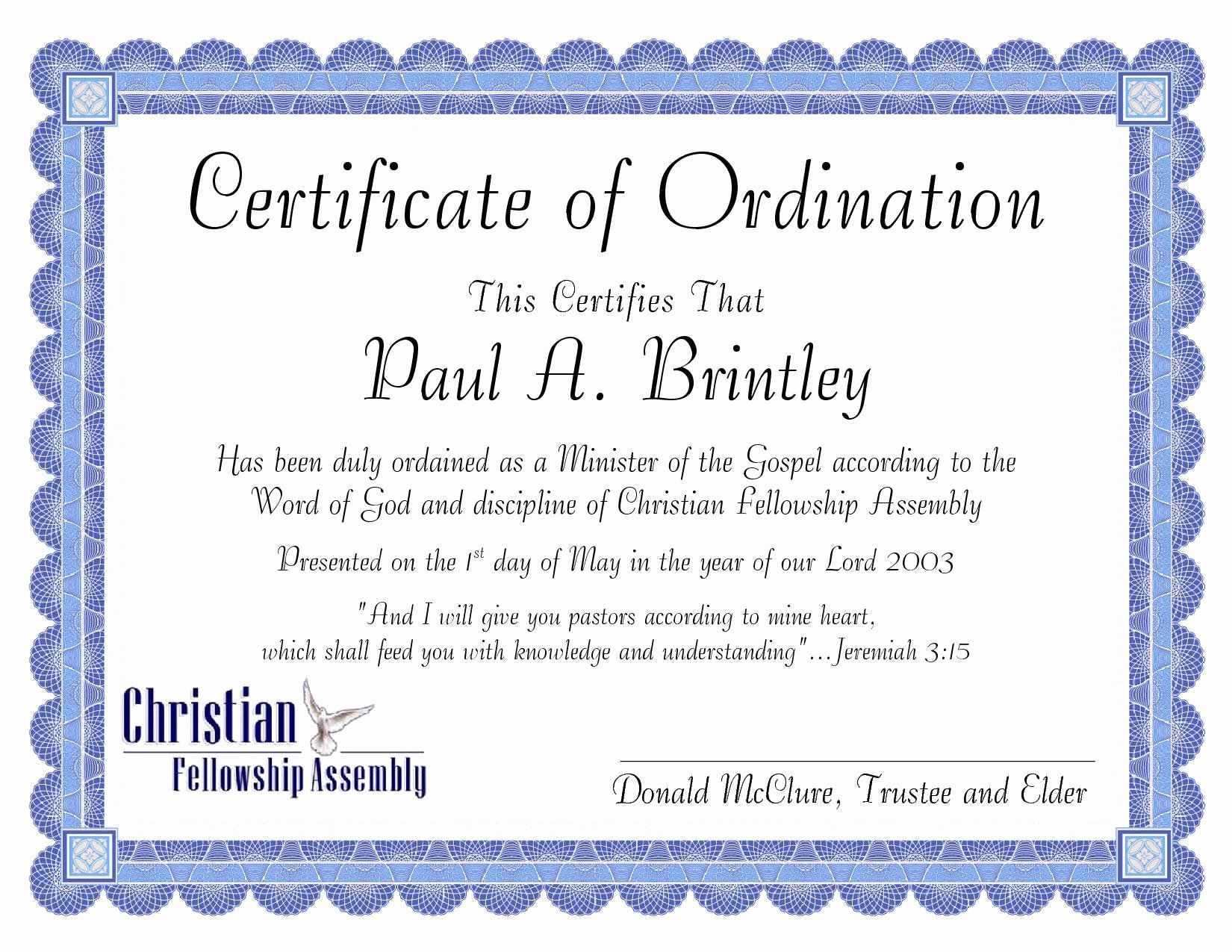 Certificate Of ordination Template Luxury Pastoral ordination Certificate by Patricia Clay issuu
