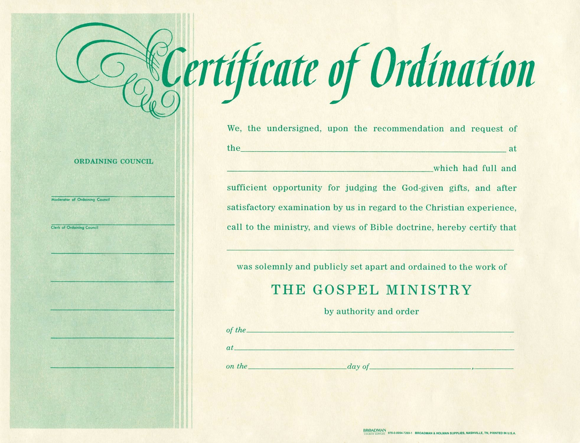Certificate Of ordination Template New Free Blank Certificate ordination