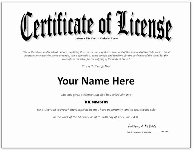 Certificate Of ordination Template New Pastor License Certificate Template Google Search