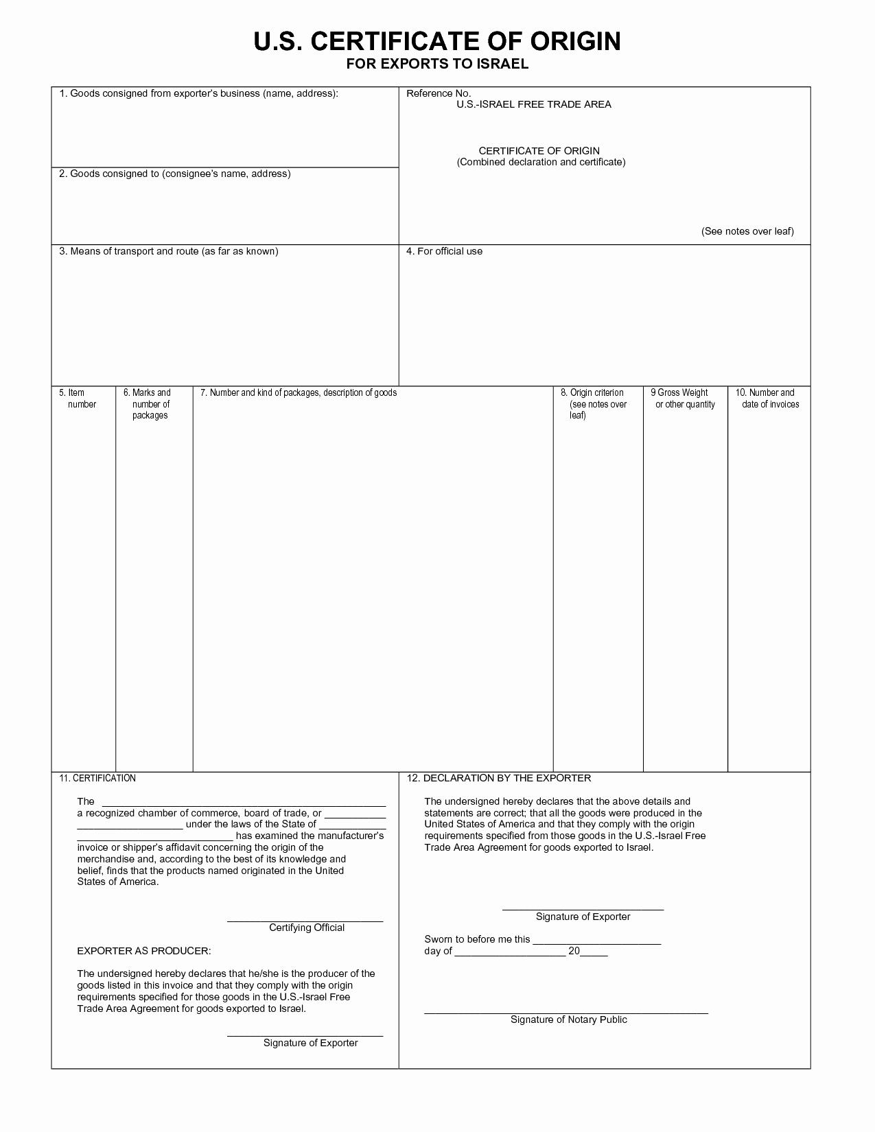 Certificate Of origin Template Fresh Certificate Of origin Template Pdf