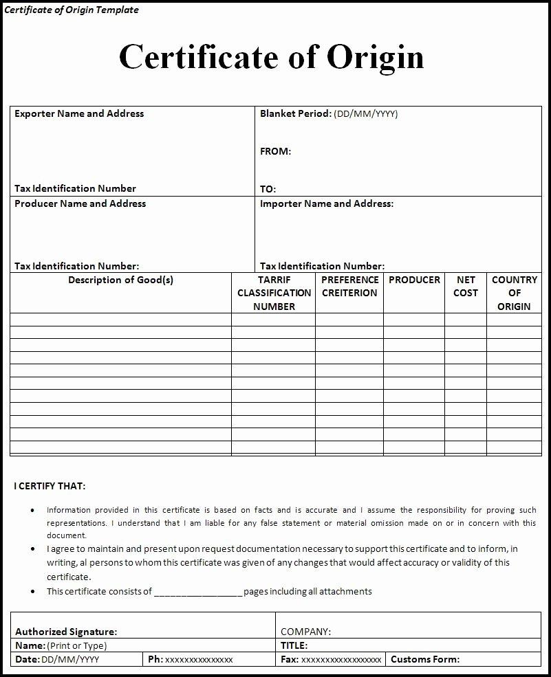 Certificate Of origin Template Luxury Certificate Of origin
