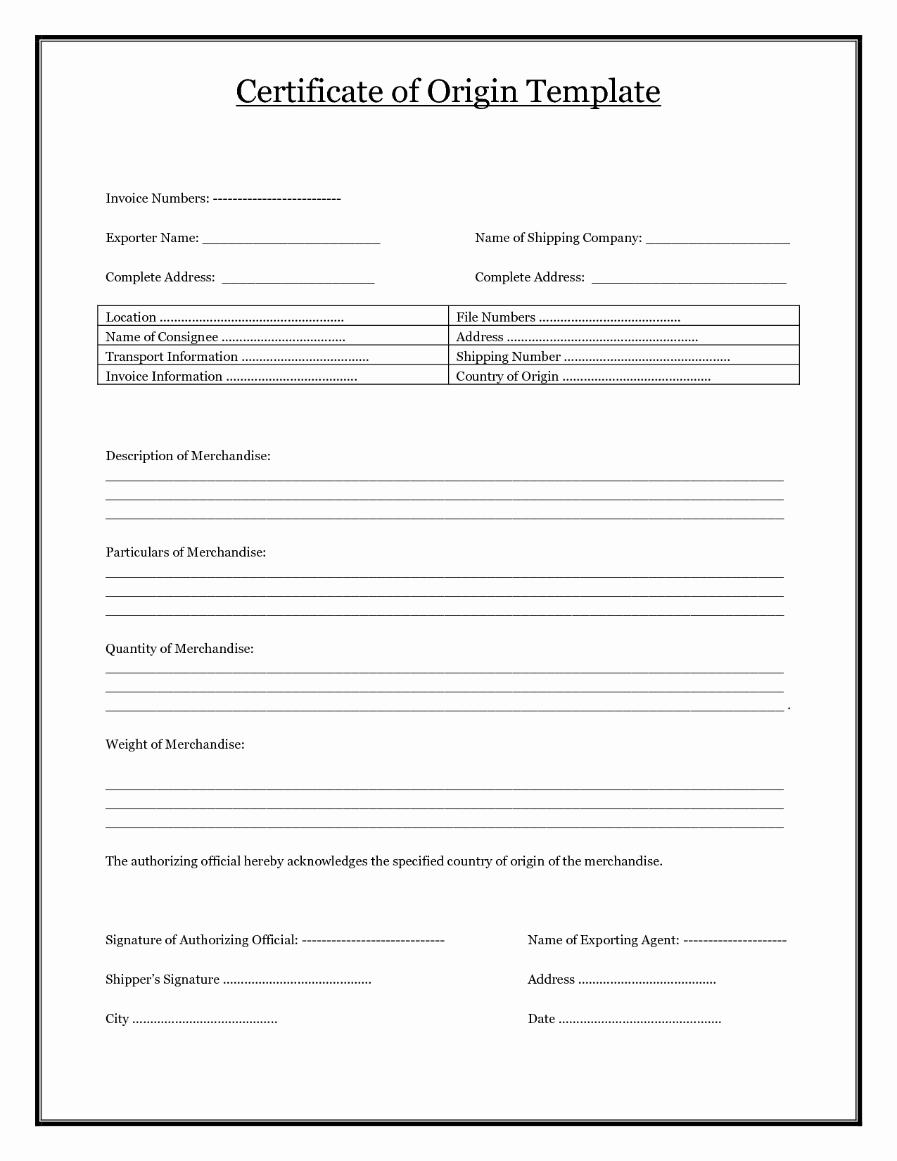 Certificate Of origin Template New Certificate Of origin Template Pdf